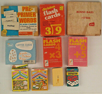 Educational Flash Cards Games Words Math Letters Reading Minne Bars Lot 10 Vtg