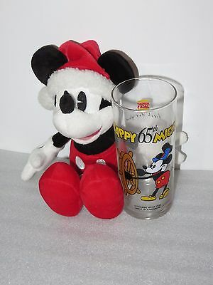 Disney Parks Steamboat Mickey Mouse Christmas Attire + Hungry Jacks 65th Glass