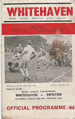 RUGBY LEAGUE CHAMPIONSHIP PROGRAMME - WHITEHAVEN v SWINTON - 23RD AUGUST 1969