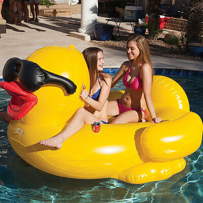 GAME Giant Ride On Inflatable Derby Duck with Air Pump Pool Family BNIB