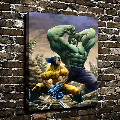 Hulk VS Wolverine Poster Picture Oil Painting Art Print Canvas Home Decor 12x16