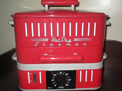 HOT DOG STEAMER MACHINE Electric Food Bun Warmer Cooker Red Retro