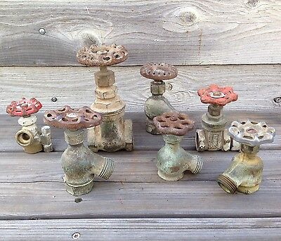 Lot of 7 Antique/Vintage Spigot Valves and Handles ~ Vintage Plumbing Hardware