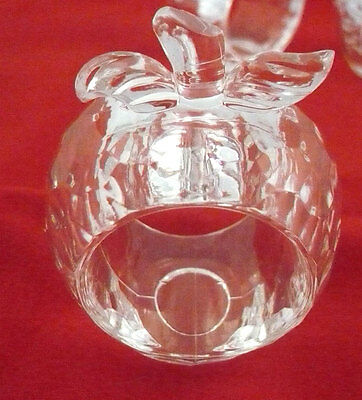 VGC Lot of 6 faceted clear plastic or acrylic apple shaped napkin rings