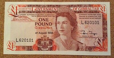 Gibraltar Banknote. One Pound. Queens Image. Uncirculated.