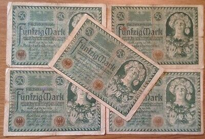 5 X German Banknotes. 50 Mark. Reichsbanknote. Dated 1920.