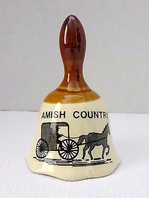 Collectible Vintage Brown & Tan Porcelain Ceramic AMISH COUNTRY Souvenir Bell