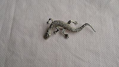 Huge 925 Sterling Silver Lizard  Brooch/pin