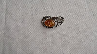Vintage Art Nouveau 925 Sterling Silver Amber Stone  Brooch/pin