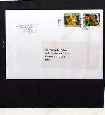 Switzerland 2005 To India Cover 30453 Advertisement Cancellation Butterfly