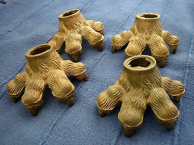 Set Of 4 Large Cast Brass Claw Feet / Castor Covers.