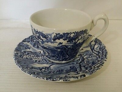 Myott the hunter blue and white demitasse cup and saucer