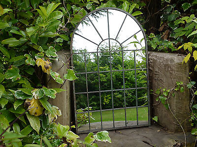 Large Decorative Gothic Arched Door Metal Framed Garden Wall Mirror Arch 77cm
