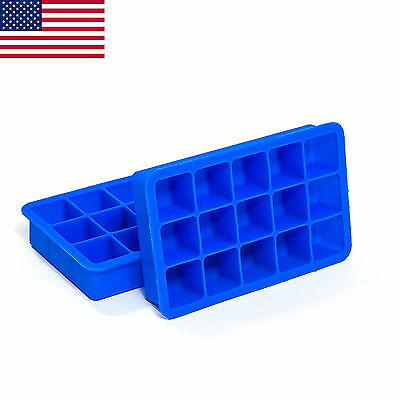 Perfect Ice Cube Silicone Trays, 2 Pack Deal, 1 Inch Cubes - Lifetime Warranty