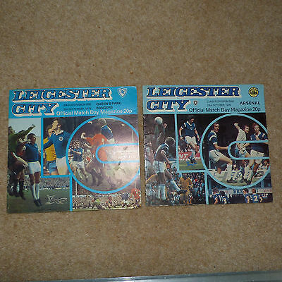 2 Leicester City 1976 Home Programmes Arsenal & Qpr Lot 35