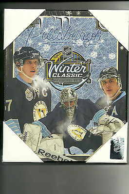 "New 7.5""X9.5"" Wooden Plaque NHL Winter Classic Pittsburg 2011 Crosby/Malkin"
