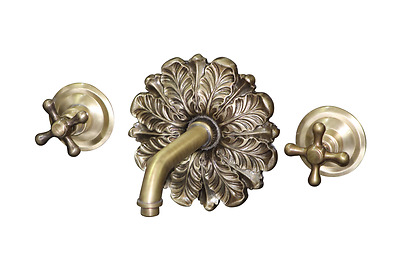 BT44 Wall mounted taps with ornamental plate solid brass available in any finish