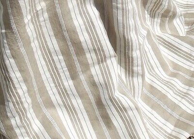 Bolt of Vintage French 1930s Ticking Fabric Woven Herringbone Striped Buff Beige