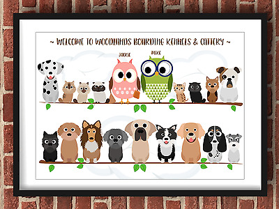 Personalised Owl Family Tree Branch A4 Landscape Print Gift (Frame Not Included)