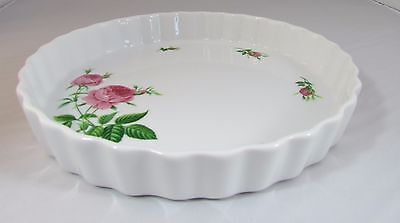 Christine Holm China Pie Plate  Rose Pattern Quiche Dish - Pie Pan