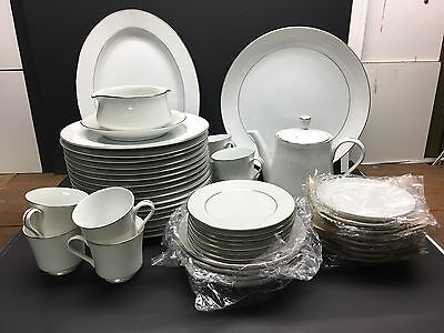 Crown Victoria Lovelace Collection China Set Japan Elegant White Silver Trim 57