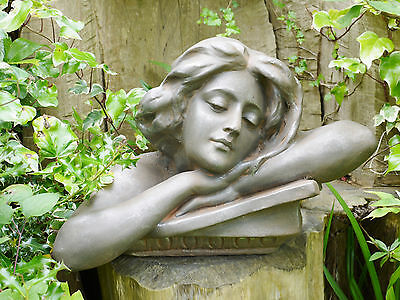 Female Head Torso Bust Statue Garden Ornament Lady Sculpture Large Resin 46cm