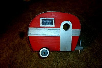 Custom made Camper Wood and Tin Bird House Decoration for Your Outdoor Garden