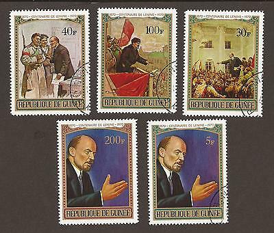 Guinea 1970. Scott 564, 566-569 (used) Lenin