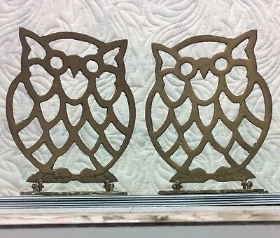 OWL BOOKENDS made of brass UNIQUE ~ No Manufacturer Markings ~ Folds Flat