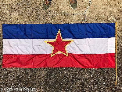 Communist Yugoslavia 1980s ORIGINAL OFFICIAL silky flag star 189x75cm HAND-SEWN