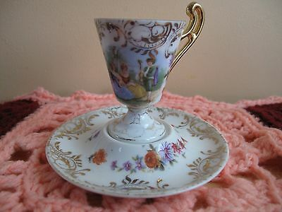Antique C.G Schierholz & Son Chocolate Porcelain Cup and Saucer with Gold