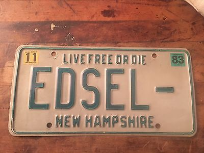 New Hampshire Vanity License Plate.                   Edsel-
