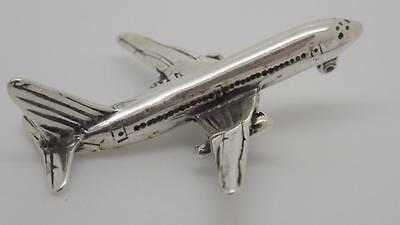 Vintage Sterling Solid Silver 925 Airplane Miniature - Stamped - Made in Italy