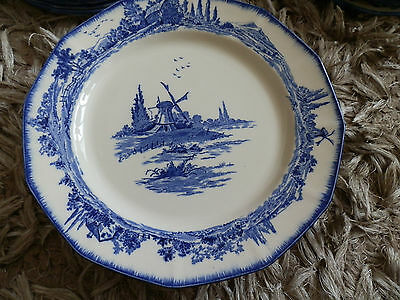 6 x Pretty Royal Doulton Norfolk Blue & White Dinner Plates, D6294, 10 1/4""