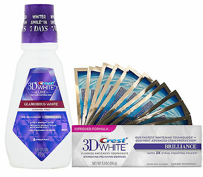 28 Teeth Whitening White Strips + Crest3D Glamorous Toothpaste + Mouthwash