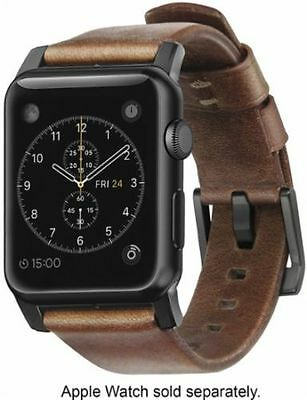 Nomad - Leather Watch Strap for Apple Watch 42mm - Brown with Black Lugs 4804