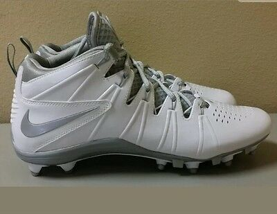 Mens Nike Huarache 4 LAX Td Lacrosse Football Cleats White/Silver Size 13