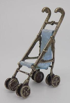Vintage Solid Silver Stroller Miniature - Stamped - Made in Italy