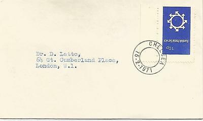 RANDALL POSTAL SERVICE 10p ON 1971 CHELSEA CANCELLED TYPED COVER REF 44