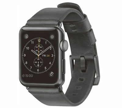 Nomad Leather Watch Strap for Apple Watch 38mm Slate Gray Black Hardware 4941