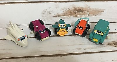 Lot of Tomy Vintage Windup Mini Toys Flipping Car Space Shuttle Plane Bus