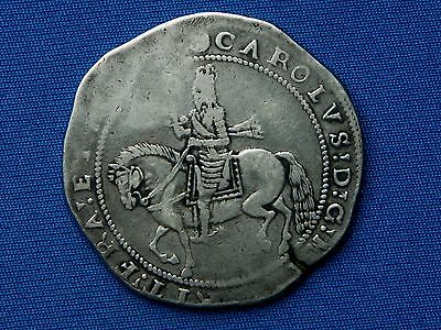 Charles I Silver Crown - Truro mint - mm rose - Superb