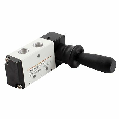 Pneumatic Air Inlet 2 Position 5 Way Manual Hand Pull Valve Gray+Black DT