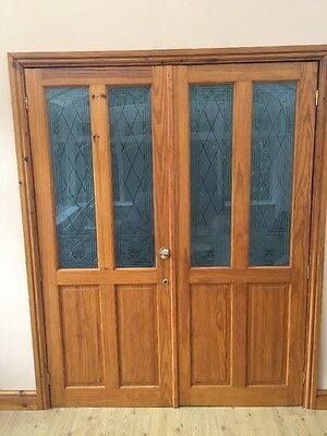 Internal french style wood double doors with unusual glass for French style double doors