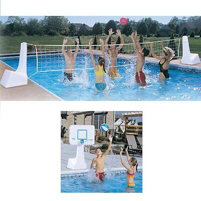 Dunnrite PoolSport 2 in 1 Swimming Pool Basketball Hoop and Volleyball Combo Set