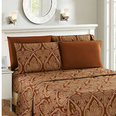 1800 Series Egyptian Bed Sheet Set - Paisley Printed Striped 6 Piece In 5 Colors