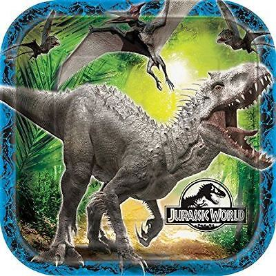 23cm Square Jurassic World Party Plates, Pack of 8 Birthday Party Celebration