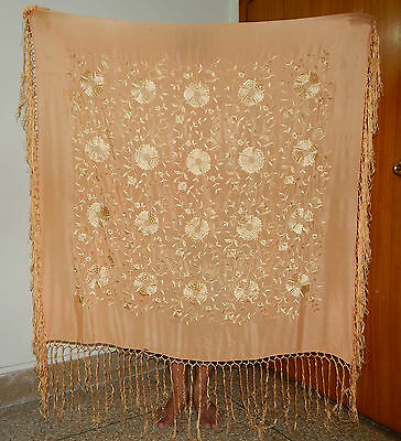 Antique Beautiful Chinese Embroidered Silk Piano Shawl (Ps95)