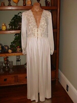 "Ladies/Womens Vintage Shadowline Long Nylon Peignoir Robe - Bust to 42"" - Cream"