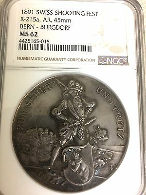 RARE 1891  Swiss Silver Medal Shooting Festival Bern   R-215 a  45mm NGC MS-62